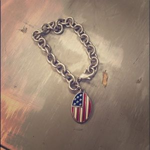 Authentic Tiffany's American flag bracelet silver